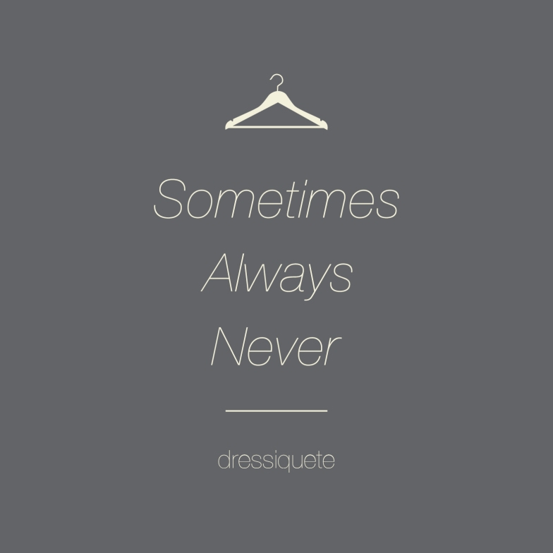 ALWAYS, SOMETIMES, NEVER