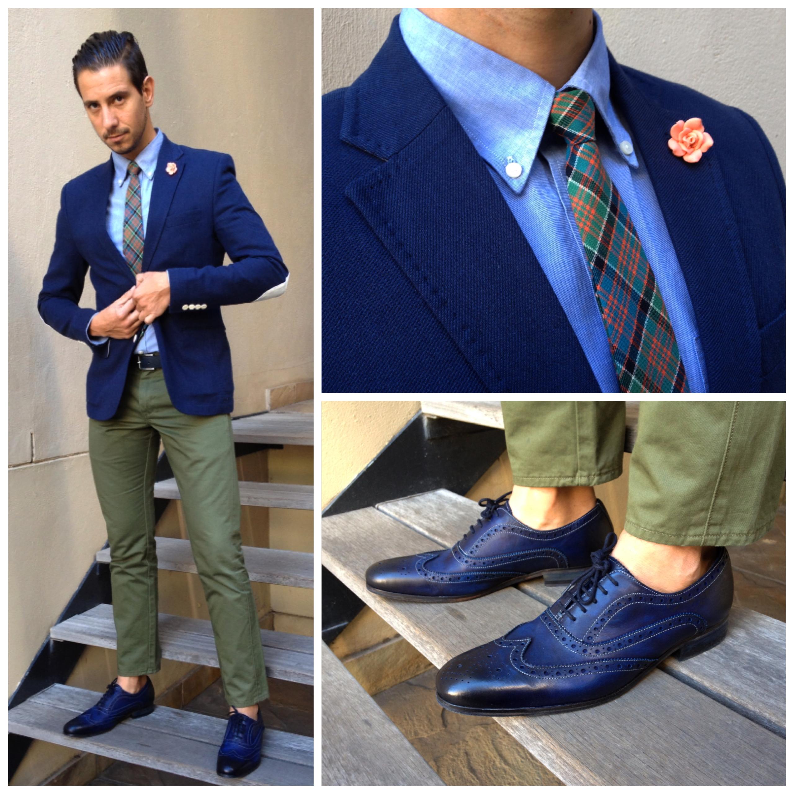 Мужские туфли с синей полосой