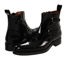 A. Testoni - Brushed Calf Monk Strap Boot (Nero) - Footwear