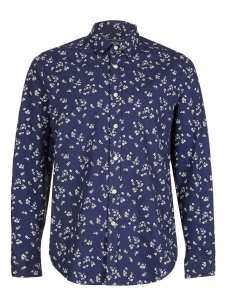 BLUE WHITE MINI ROSE PRINT LONG SLEEVE SHIRT