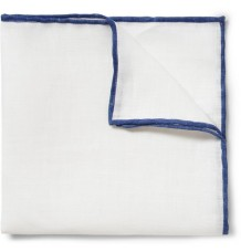 CONTRAST-EDGE LINEN POCKET SQUARE