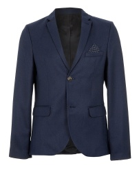 NAVY HERRINGBONE SKINNY FIT BLAZER