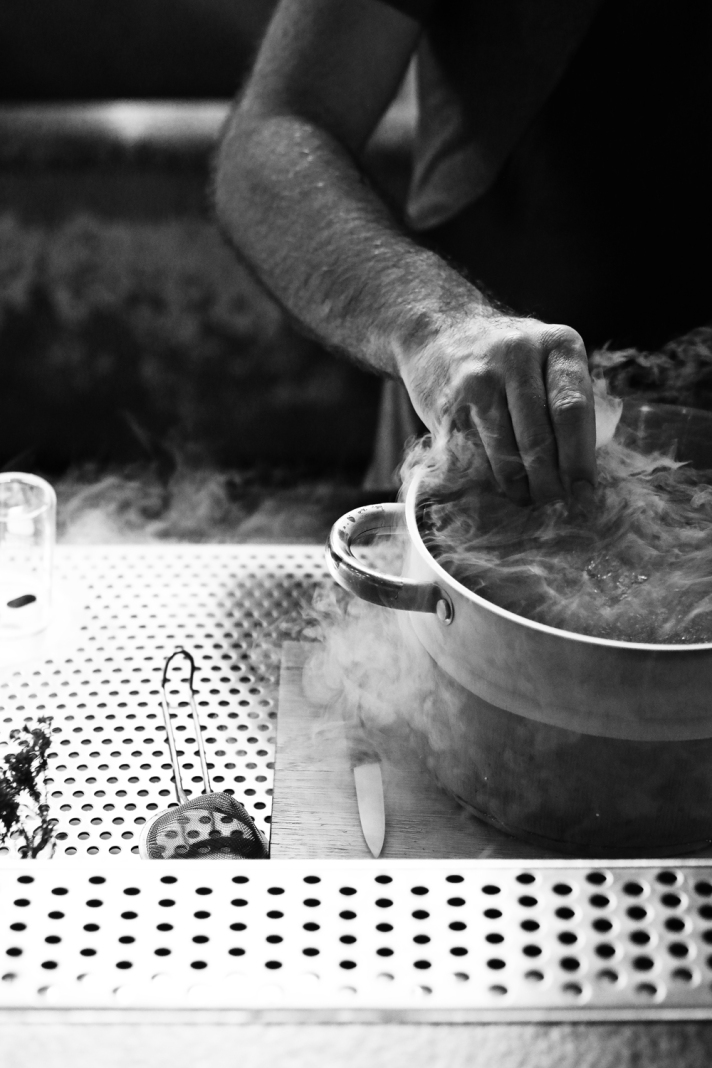 smoke-and-hand-in-pot-(B&W)